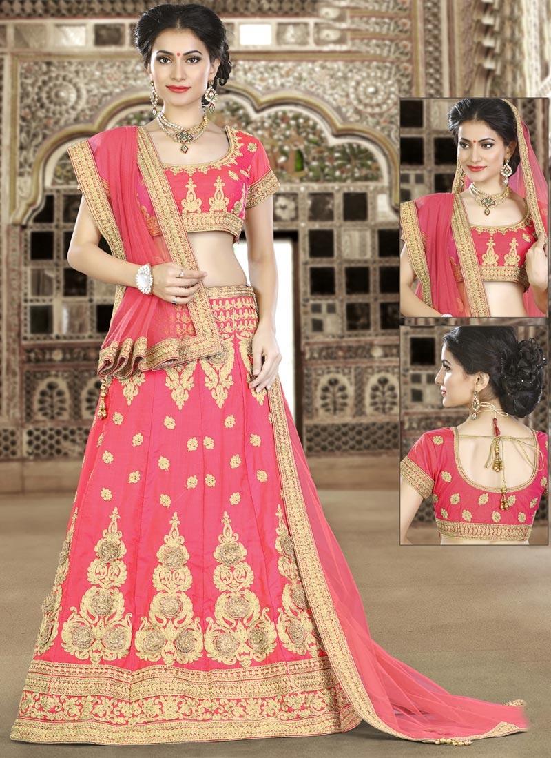 Booti Work Silk Trendy Lehenga