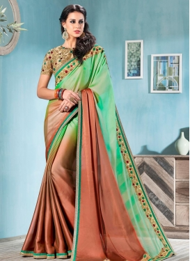 Coral and Mint Green Contemporary Style Saree