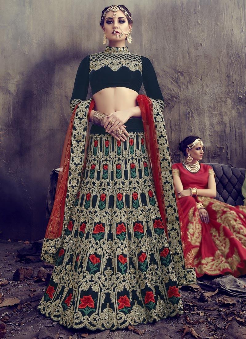 Aari Work Net A Line Lehenga Choli