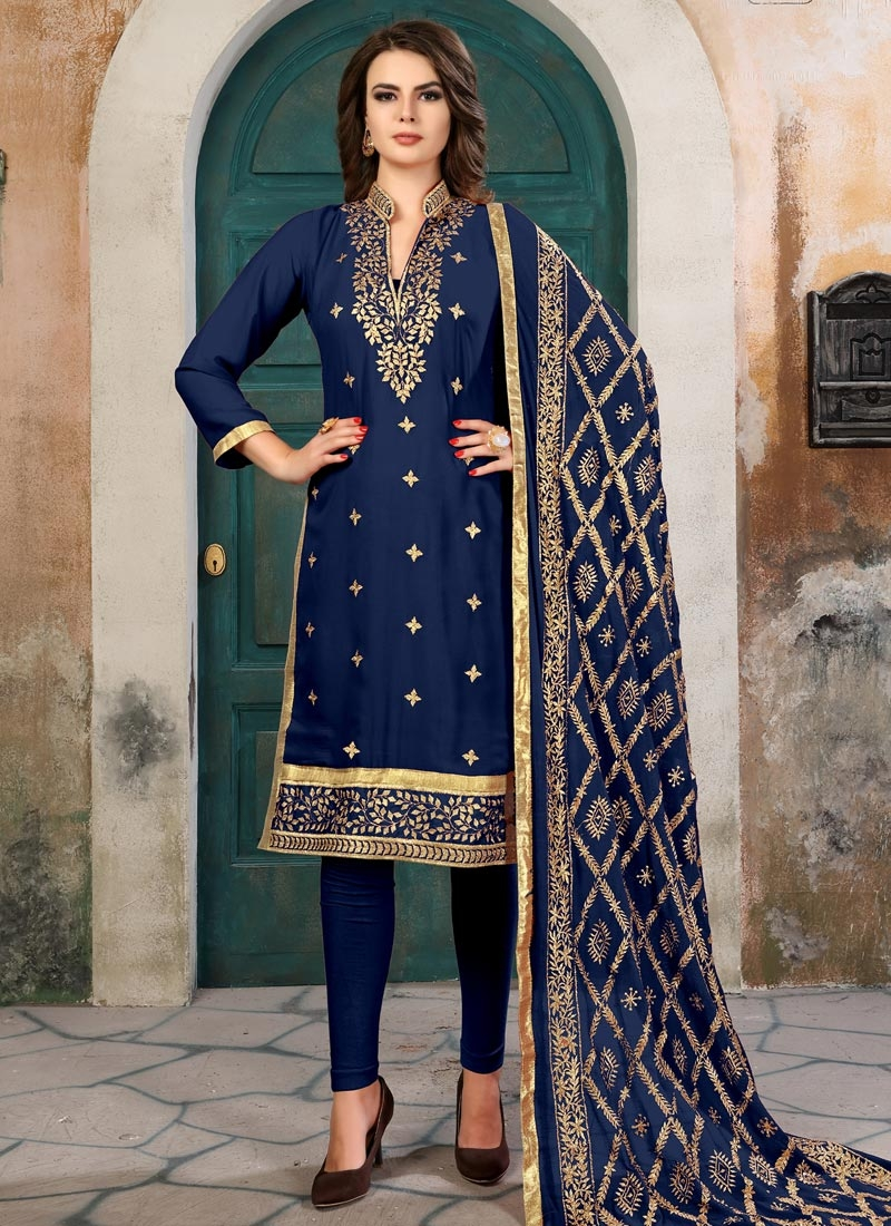 Embroidered Work Faux Georgette Straight Salwar Suit