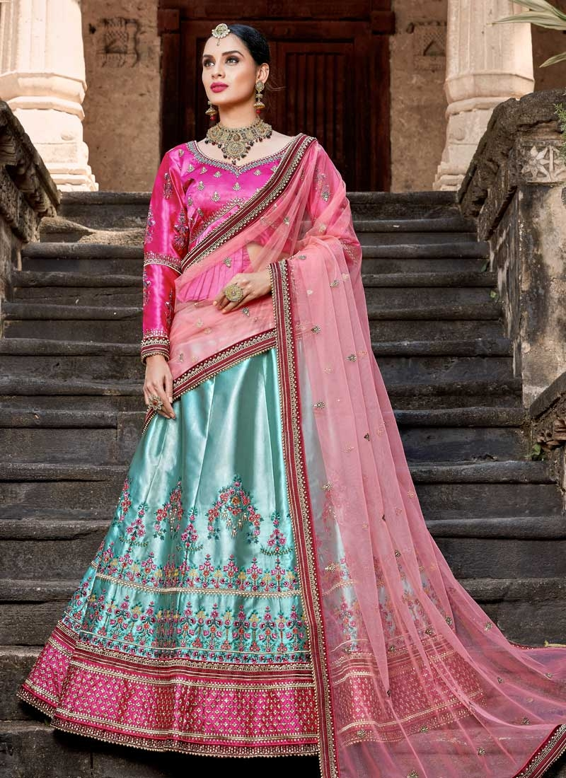 Satin Beads Work A Line Lehenga Choli
