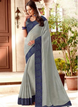 Grey and Navy Blue Contemporary Saree For Ceremonial