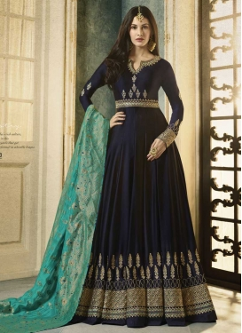 Nargis Fakhri Silk Georgette Embroidered Work Floor Length Kalidar Salwar Suit