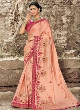 Beads Work Peach and Rose Pink Classic Saree