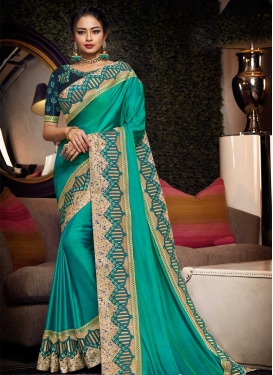 Satin Silk Embroidered Work Trendy Classic Saree