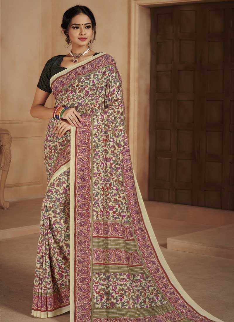 Crepe Silk Print Work Traditional Saree