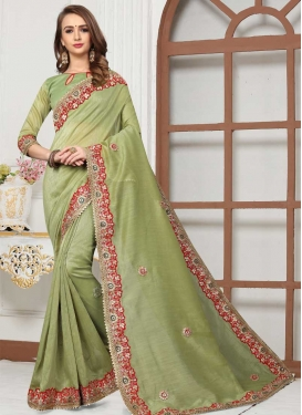 Cotton Silk Lace Work Traditional Saree