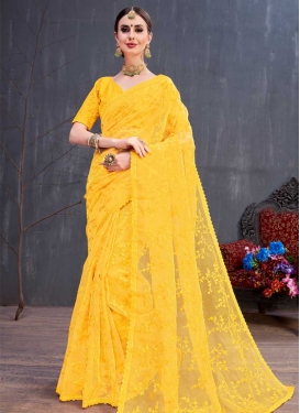 Organza Embroidered Work Designer Contemporary Saree