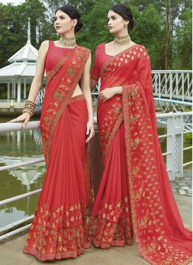 Embroidered Work Silk Georgette Contemporary Style Saree