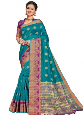 Thread Work Art Silk Designer Contemporary Saree