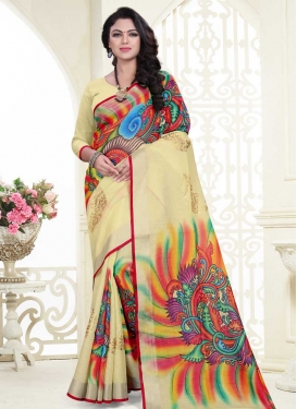 Linen Digital Print Work Trendy Saree