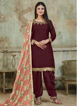 Satin Designer Semi Patiala Suit