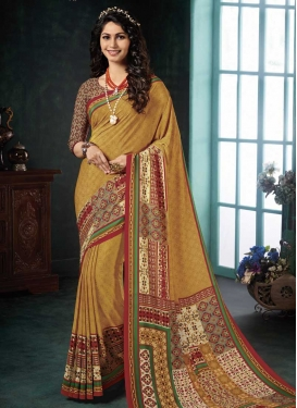 Crepe Silk Digital Print Work Traditional Saree