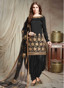 Embroidered Work Tafeta Silk Designer Patiala Salwar Kameez