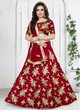 Embroidered Work A - Line Lehenga For Party