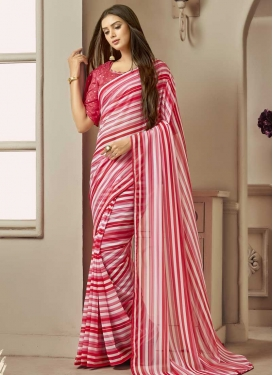 Hot Pink and Off White Strips Print Work Designer Traditional Saree
