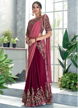 Hot Pink and Maroon Embroidered Work Half N Half Trendy Saree