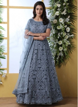 Embroidered Work Net Floor Length Trendy Gown