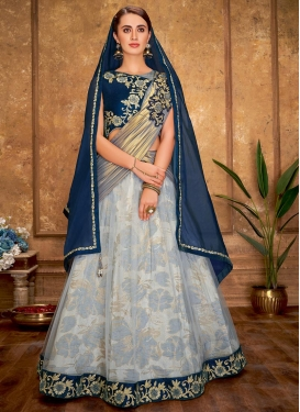 Embroidered Work Jacquard Silk Lehenga Saree
