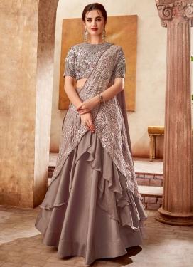 Satin Silk Lehenga Style Saree