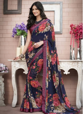 Faux Georgette Lace Work Designer Contemporary Style Saree