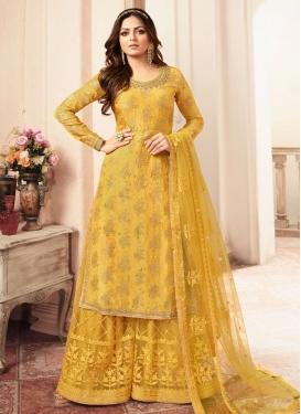 Drashti Dhami Jacquard Palazzo Style Pakistani Salwar Suit