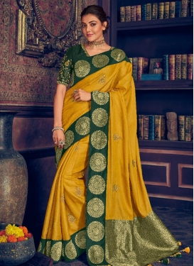 Kajal Aggarwal Green and Mustard Contemporary Style Saree For Ceremonial