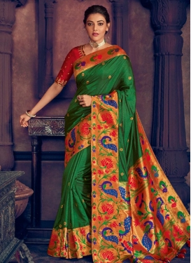 Green and Red Kajal Aggarwal Art Silk Trendy Classic Saree