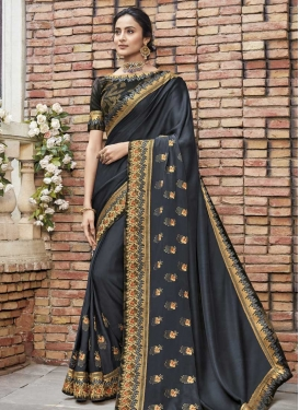 Satin Silk Half N Half Trendy Saree