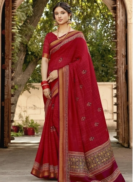 Embroidered Work Cotton Trendy Classic Saree