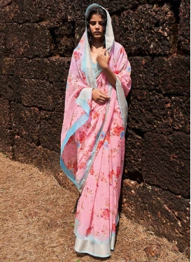 Digital Print Work Linen Trendy Classic Saree For Casual