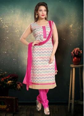 Banglori Silk Off White and Rose Pink Lace Work Readymade Churidar Salwar Suit