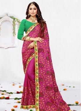 Embroidered Work Art Silk Contemporary Style Saree