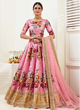 Digital Print Work Satin Silk A - Line Lehenga