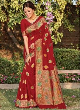 Handloom Cotton Woven Work Designer Traditional Saree