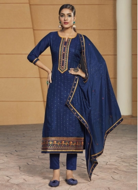 Cotton Satin Pant Style Pakistani Suit For Ceremonial