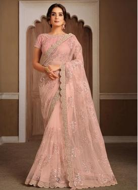 Embroidered Work Net Trendy Classic Saree