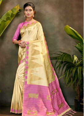 Cream and Mauve Woven Work Contemporary Style Saree