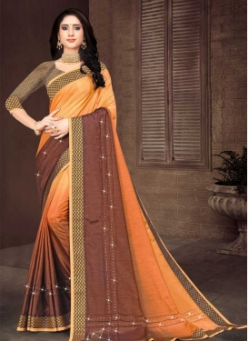 Vichitra Silk Brown and Orange Contemporary Style Saree For Casual