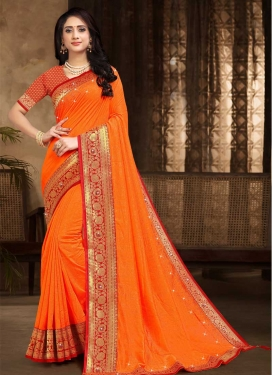 Vichitra Silk Stone Work Contemporary Style Saree