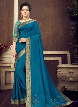 Vichitra Silk Lace Work Designer Traditional Saree