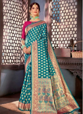 Woven Work Contemporary Style Saree For Ceremonial
