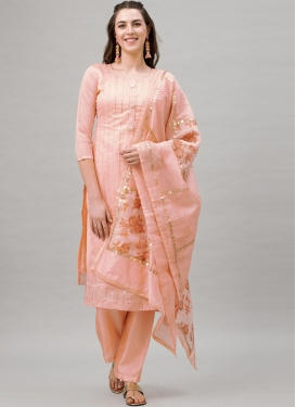 Navy Blue and Peach Pant Style Pakistani Salwar Kameez For Casual