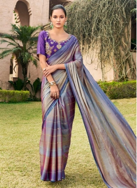 Chiffon Satin Embroidered Work Grey and Violet Contemporary Style Saree