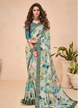 Digital Print Work Crepe Silk Traditional Designer Saree