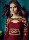 Tafeta Silk Cream and Maroon Embroidered Work Readymade Designer Gown - 1