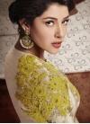 Fancier Silk Beige and Gold Aari Work Designer Palazzo Salwar Kameez - 2