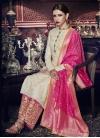 Tussar Silk Cream and Rose Pink Palazzo Style Pakistani Salwar Kameez - 1