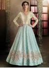 Beads Work Aqua Blue and Off White Floor Length Anarkali Salwar Suit - 1