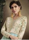 Beads Work Aqua Blue and Off White Floor Length Anarkali Salwar Suit - 2